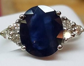 14K White Gold KAPOW Natural Sapphire Diamond Ring
