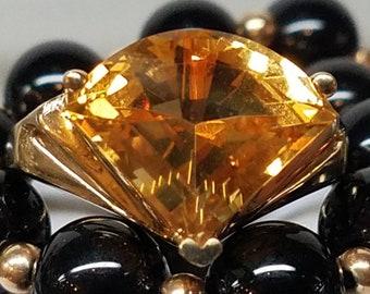 1980s Era 14K Yellow Gold Trillion Citrine Ring