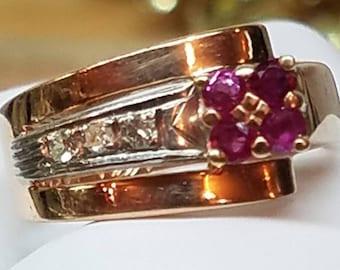 Retro Era Rose Gold Ruby Diamond Ring