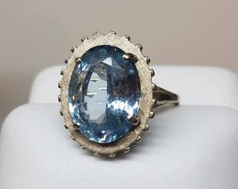 Retro 14K White Gold Blue Topaz KAPOW Ring
