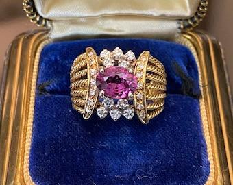 Unique & Chunky 18k Pink Tourmaline Diamond Ring