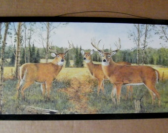 Country Wood Picture Deer Buck Lodge Lake Decor Plaque Sign