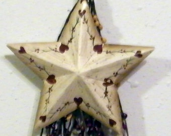 Retro Primitive Vintage Berry SWAG METAL STAR Hearts sign  Shabby Country  Wall Decor Free Shipping
