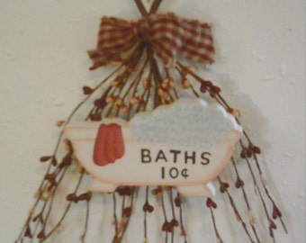 Primitive Berry Swag BATHS sign Bathroom Wall Country Decor Free Shipping