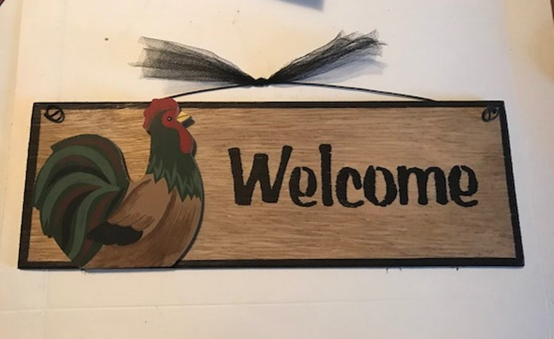 """MY ROOST MY RULES chicken rooster wall home decor kitchen wooden sign 4x12/"""""""
