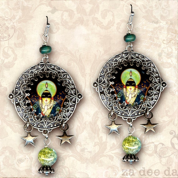Earrings Jewellery for Circus Fortune Teller Fancy Dress Gipsy Set Necklace