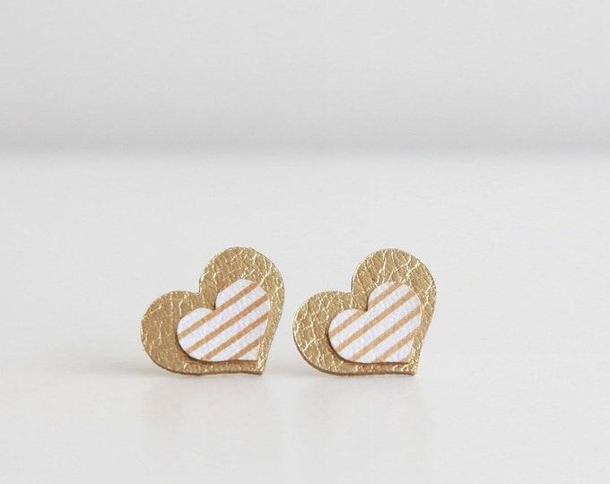 Featured listing image: Striped leather heart stud earrings | Minimalist statement earrings | Modern earrings | Large everyday stripe earrings | Love gift for her
