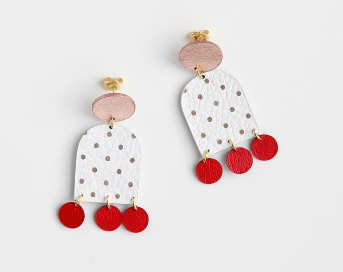 Featured listing image: White polka dot dangle leather earrings | Colorful statement earrings | Contemporary earrings | spotted earrings | Fun earrings gift for her