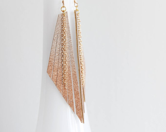 Featured listing image: Long ombré champagne to rose gold vegan leather drop earrings | Long triangle earrings | Shoulder dusters | Boho statement earrings