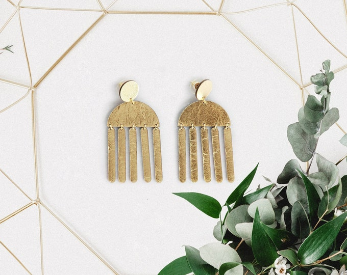 Featured listing image: Geometric tassel leather earrings | Modern chandelier earrings | Fringe earrings | Contemporary earrings | African earrings | Gift for her