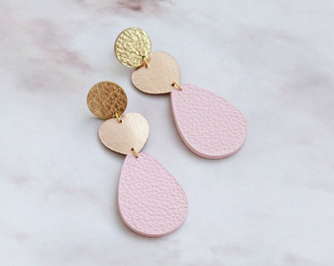 Featured listing image: Rose gold and pink leather heart earrings
