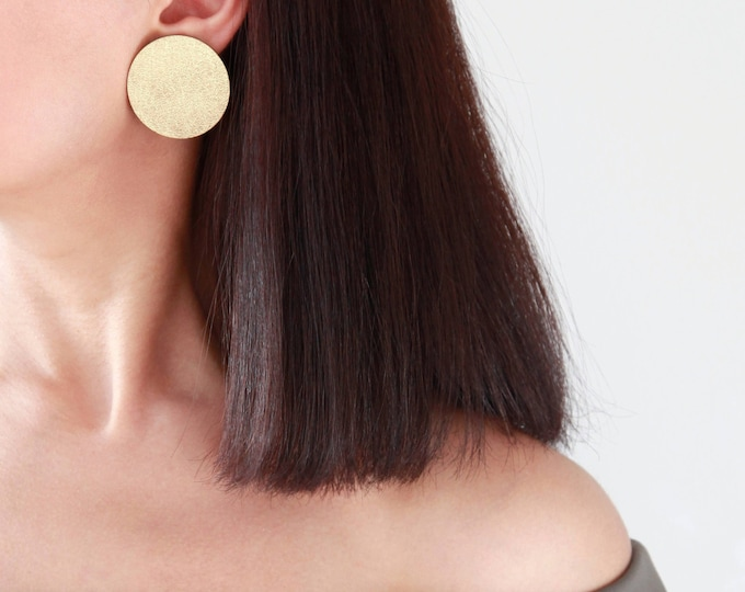 Featured listing image: Large gold leather disc stud earrings | Modern and minimalist golden earrings | Big post earrings | Gold circle earrings | Gift for her
