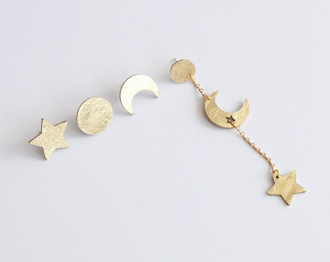 Featured listing image: Mix and match celestial gold leather earrings | Mismatch cosmic Moon and Star earrings | Crescent earrings | Boho minimalist earrings