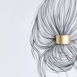 Gold leather ponytail cuff double sided in black hair cuff | Gold topknot holder | Gold hair cuff | Leather hair elastic | Hair accessories