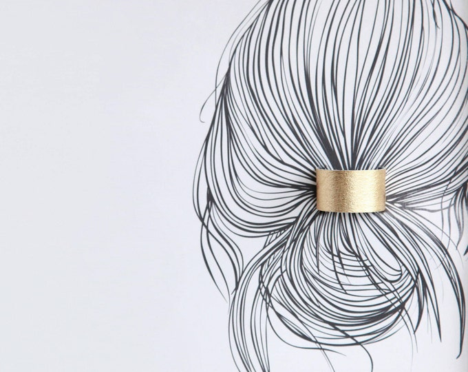 Featured listing image: Gold leather ponytail cuff double sided in black hair cuff | Gold topknot holder | Gold hair cuff | Leather hair elastic | Hair accessories