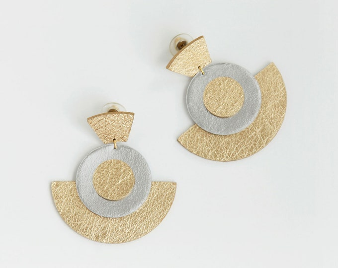Featured listing image: Large geometric gold and silver leather fan drop earrings | Modern earrings | Statement earrings | Chunky earrings | Big gold earrings
