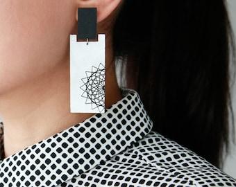 Mandala Leather Earrings | Large rectangle stud earrings | Graphic mandala dreamcatcher | Long minimal rectangular earrings | Yogi earrings