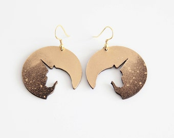 Unicorn circle leather drop earrings | Gold galaxy unicorn | Statement earrings | Cosmos earrings | Gift for unicorn lover