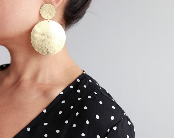 Featured listing image: Large gold leather double disc earrings
