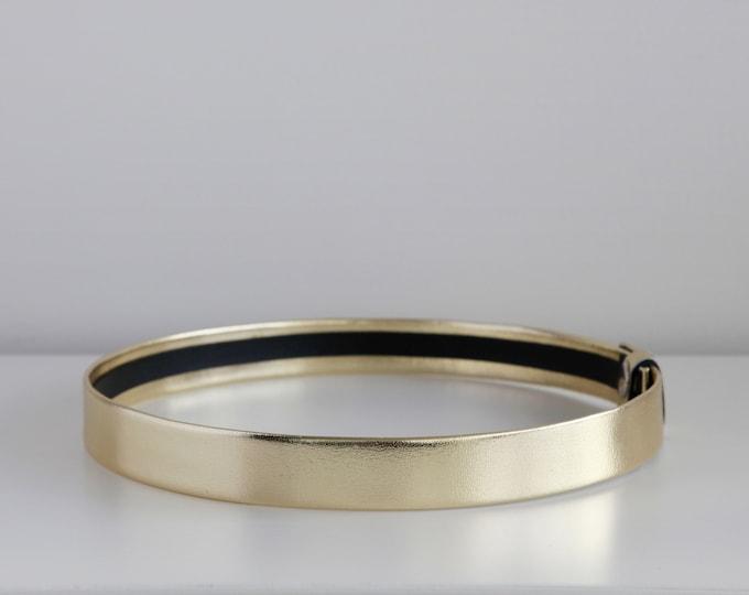 Featured listing image: Metallic gold leather waist belt | Modern and minimalist flat women's waist belt | Belt for dress
