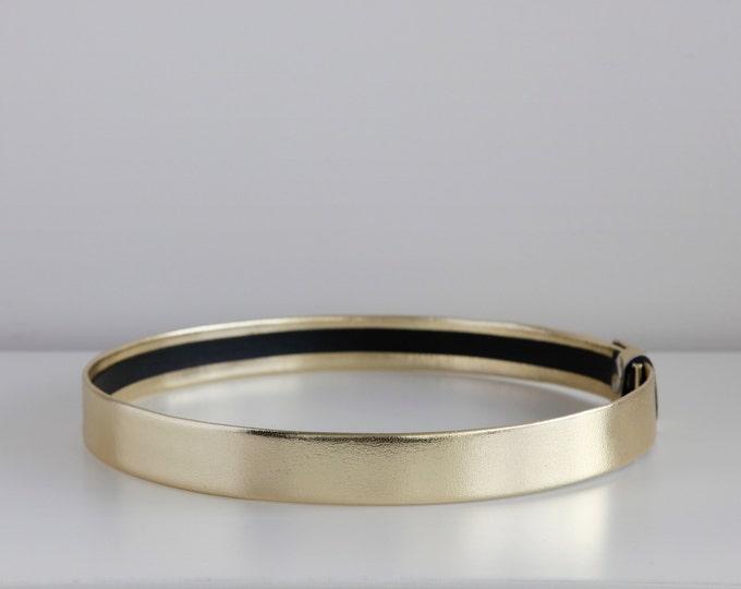 Featured listing image: Gold waist belt | Modern and minimal women belt | Gold leather belt | Minimalist wedding belt | Bridal belt | Made to measure belt for dress
