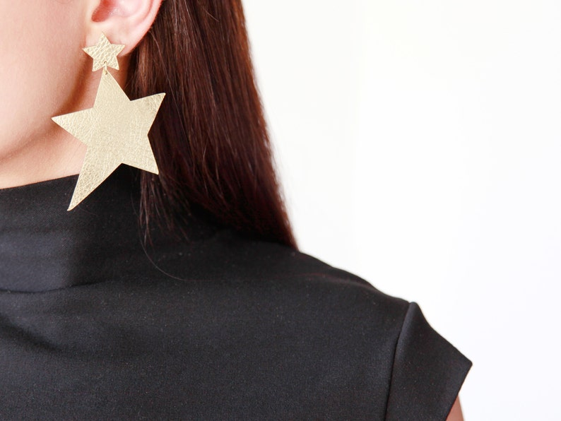 Large Star leather earrings  Celestial earrings  Star Gold