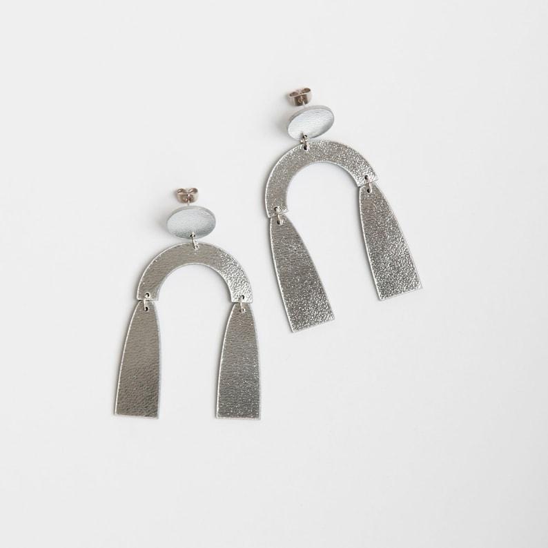 Silver leather Arch earrings  Silver dangle earrings  image 0