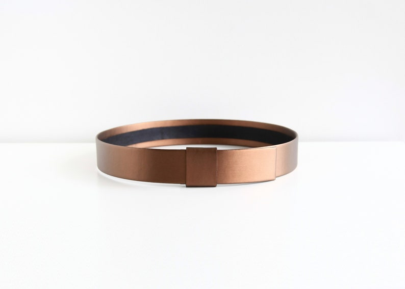 Bronze waist belt  Modern and minimalist women belt  Vegan image 0