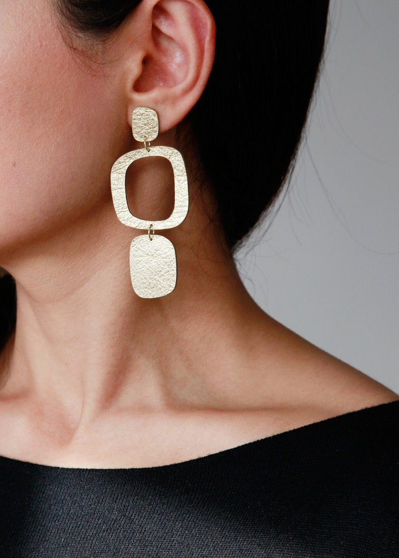 Large abstract leather earrings  Silver Gold statement dangle Gold
