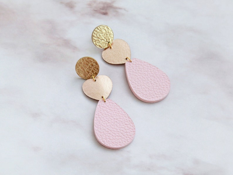 Long rose gold and pink leather heart earrings  Tear drop image 0