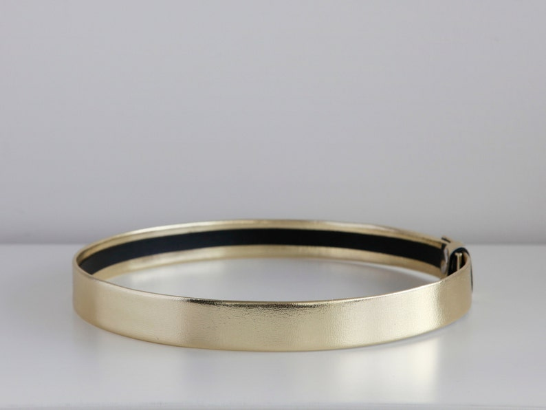 Gold waist belt  Modern and minimal women belt  Gold leather 1 inches