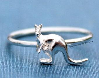 Kangaroo hand stamped ring