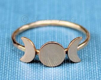 Triple Goddess Ring, Gold Moon Ring, Moon Phase Ring, Crescent Moon Ring, Wicca ring, Wicca Jewelry, Lunar Phases, Statement Ring, Boho ring