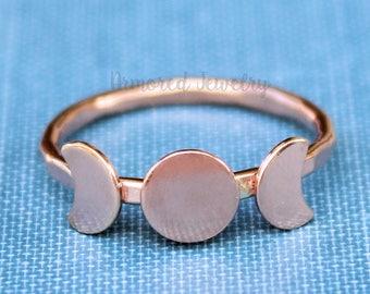 Triple Goddess Ring, Rose Gold Moon Ring, Moon Phase Ring, Crescent Moon Ring, Wicca ring, Wicca Jewelry, Lunar Phases, Statement Ring, Boho