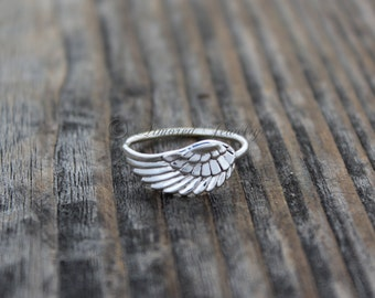Angel Wing Ring 5 - Sterling Silver Angel feather wing ring - Mother Daughter Jewelry - Simple Delicate Simple - Handmade