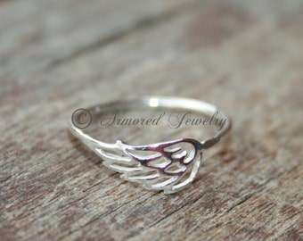 Angel wing ring 1, Sterling silver Angels, Dainty Simple Delicate, Silver angel Ring, Heaven angel, Memorial Jewelry, Angel wing Rings