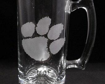 24 oz Glass Beer Mug Clemson