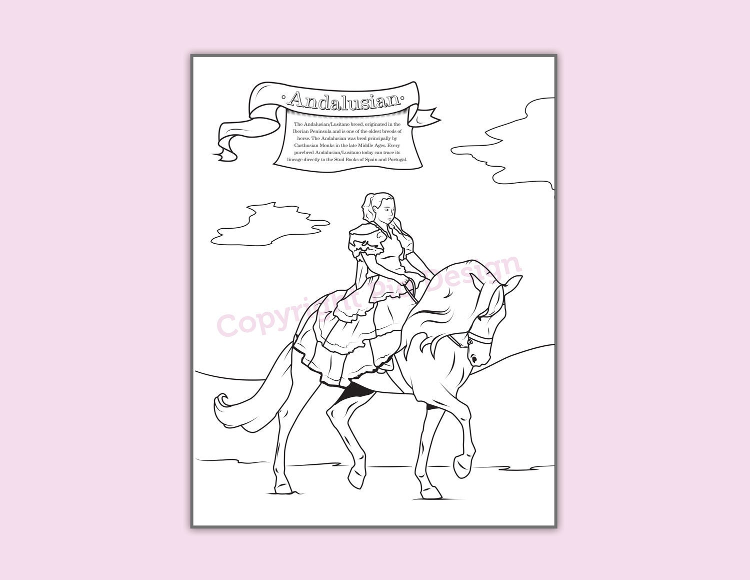 Coloring Page Horses Andalusian Spanish Costume Coloring | Etsy