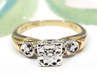 b3d6c754f 1940s 14k Gold Diamond Engagement Ring, Vintage Midcentury Two Tone Gold  Ring, Antique Engagement Ring, Wedding Band, Wedding Ring Set