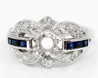 38481ef85 Reserved for J--Final Payment--Art Deco 1.24ctw Diamond Sapphire Semi Mount  Engagement Ring, 14k White Gold Setting, 1930s
