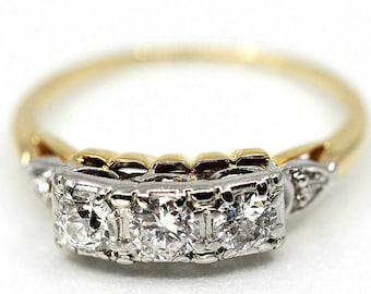 61e8a3c42 Vintage Jabel .77tcw Diamond Anniversary Ring, Three Stone Diamond Ring,  14k Two Tone Gold Conflict Free Engagement Ring, Wedding Band