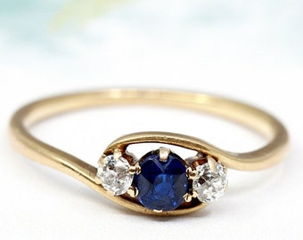5cdfcc29e 14k Gold Sapphire Diamond Bypass Ring, Antique Art Nouveau Sapphire Ring,  Three Stone Anniversary Ring, Engagement Ring Graduation September