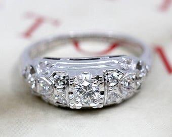 b18b0efb8 Vintage Diamond Engagement Ring, Granat Bros Art Deco 1940s Diamond Ring,  18k White Gold, Midcentury Anniversary Ring, Art Deco Ring