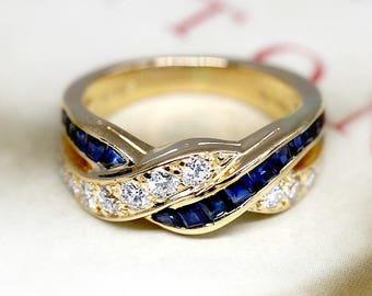 6cc2e6024 Vintage 18k Gold Sapphire Diamond Bypass Ring, Alternative Engagement Ring,  Estate Anniversary Ring, 1970s Twist Cocktail Ring, Oscar Heyman