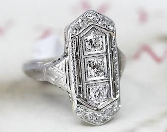 b5af35b31 18k Gold Diamond Ring, Antique Belais Art Deco Three Stone Diamond Ring,  Vintage 1920s 1930s Alternative Engagement Ring, Anniversary Ring