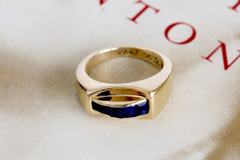 12d6c1348 Antique Tiffany & Co Sapphire Ring w/ Original Box Rare Art | Etsy