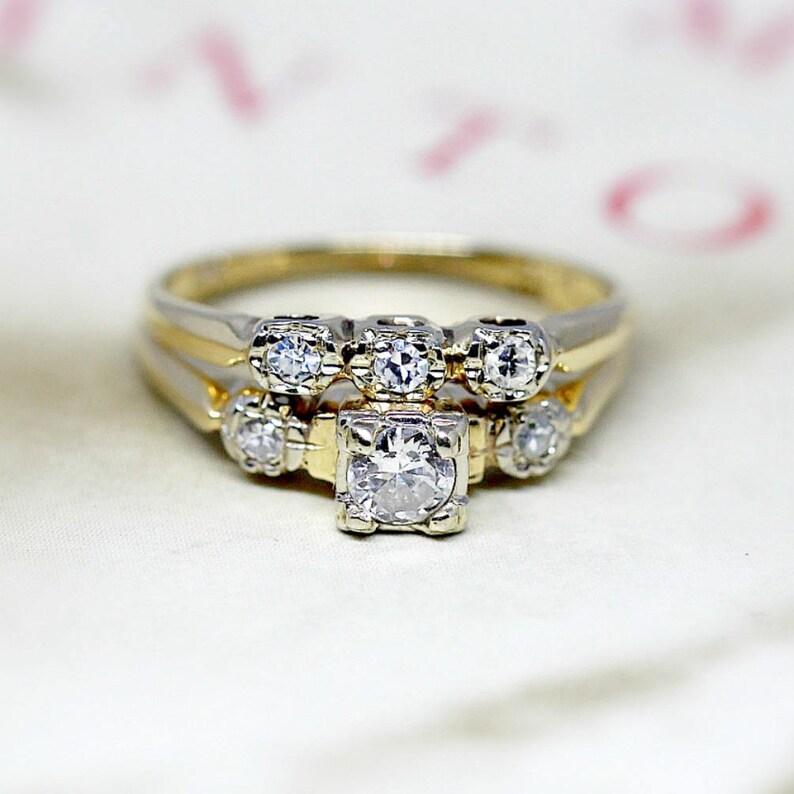 Vintage Diamond Wedding Ring Set, Antique 1930s Engagement Ring Set, Three  Stone 14k Yellow Gold Bridal Set, Antique Wedding Band Set