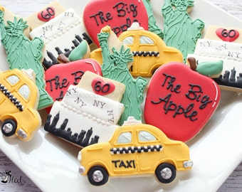 New York Themed Decorated Cookies NYC I Love NY Checkered Cab The Big Apple Gifts