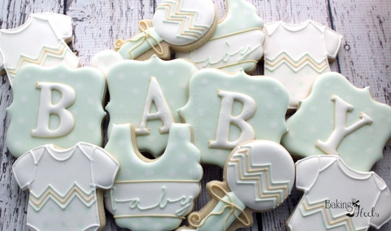 Gender Neutral Baby Shower Cookies Baby Bib Cookies Baby Etsy