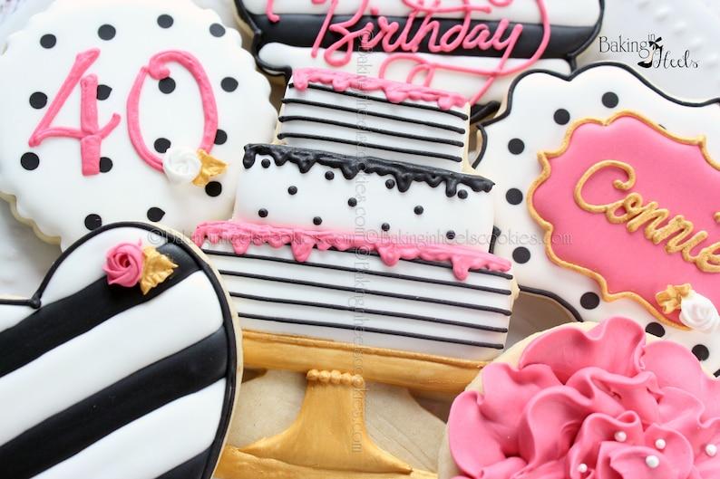 Kate Spade Birthday Inspired Cookies Birthday Cookies 40th image 0